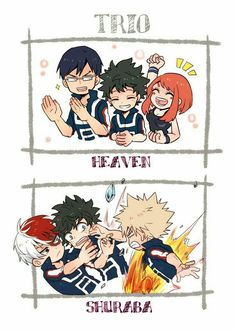 Trio Heaven, Shuraba, funny, Izuku, Ochako, Tenya, Katsuki, Shouto, fighting, text; My Hero Academia