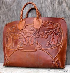 Leather Bag Oak Leaves and Acorns