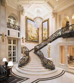 ideas for stairs design ideas awesome stairways staircases Luxury Home Decor, Luxury Interior, Home Interior Design, Interior Architecture, Luxury Homes, Luxury Mansions, Grand Staircase, Staircase Design, Basement Stairway