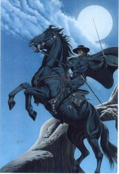 Zorro, the secret identity of Don Diego de la Vega is the most famous swordsman in comics and film. Zorro takes a lot of pleasure from humiliating his foes, those who seek to exploit the general public and poor, in front of everyone. Western Comics, Western Art, Tarzan, Zorro Costume, The Legend Of Zorro, The Mask Of Zorro, Comic Art, Comic Books, Alex Toth