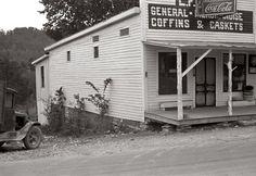 """""""Coke, Coffins & Caskets"""" The L.F. Kitts general store in Maynardville, Tennessee, 1935.  on Shorpy"""