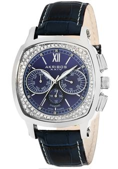 Price:$105.14 #watches Akribos XXIV AK462BU, This handsome timepiece from Akribos XXIV showcases stainless steel construction with genuine crystals decorated along the rim of the dial. The Swiss quartz multifunction movement is encased in a pillow shaped stainless steel case and comes complete with a genuine leather strap with contrast stitching. Hours In A Day, Madison Avenue, Industrial Chic, Stainless Steel Case, Quartz, Watches, Diamond, Stitching, Leather