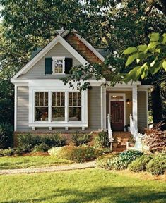 20 Admirable Small Cottage House Exterior Ideas - Page 14 of 20 Small Cottage House Plans, Small Cottage Homes, Small Cottages, Cottages And Bungalows, Small Country Homes, Cottage Style Homes, Cozy Cottage, Guest Cottage Plans, Cottage Front Yard
