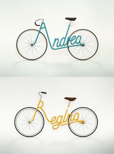 """Write a Bike"" is a serie of model bike designs made by Juri Zaech, using the owners name as the frame design"