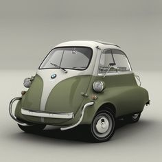 "BMW Isetta  / ""Manufactured in 1962, the Isetta was one of the first cheap people's cars. Built in Brighton, with only a 300cc engine, the ""Bubble Car"" has its only door at the front and opens with the steering wheel attached!"""