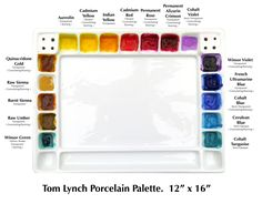 In my studio I use a 'Tom Lynch' palette, it's quite heavy so doesn't move when I'm sloshing the paint around. There is a plastic lid to put over the palette to keep the paint moist in between paintings, I usually put a layer of clingfilm over the palette as well if I'm not painting for a few weeks and the paints are still very workable when I'm ready to paint again.