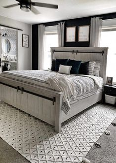 Home Interior Farmhouse Master Bedroom Makeover - Farmhouse Style Master Boho Bedroom Decor Boho Farmhouse Modern Farmhouse Master Bedroom Makeover, Master Bedroom Design, Dream Bedroom, Home Bedroom, Bedroom Designs, Master Suite, Master Bedrooms, Bedroom Makeovers, Bedroom Wall