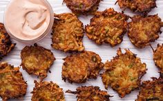 A simple recipe for crispy sweet-potato latkes with scallions, served with chipotle sour cream.