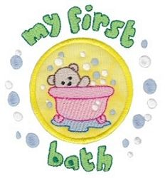 My First Bath Applique - 2 Sizes!   Words and Phrases   Machine Embroidery Designs   SWAKembroidery.com Bunnycup Embroidery