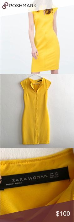 Zara dress Stunning yellow bodycon dress. Very comfortable, thick material that holds everything in. I only used this once for a wedding and unfortunately have no other use for it! Zara Dresses Midi