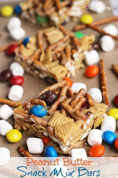 Peanut Butter Snack Mix Bars ~ Loaded with Chex, Pretzels and Peanut Butter M&M'S! Your Favorite Snack Mix in Bar Form!
