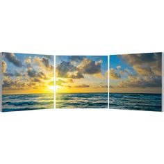 Elementem Photography Ocean and Sun Triptych Wall Art ($220) ❤ liked on Polyvore featuring home, home decor, wall art, backgrounds, ocean wall art, 3-panel, three-panel, photo wall art and ocean home decor