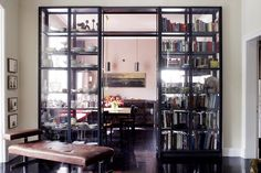 Cabinet to separate living space and kitchen Kitchen Design Gallery, Kitchen Cabinet Design, Glass Bookshelves, Bookcases, Bookshelf Ideas, Best Interior, Interior Design, Cool Rooms, Shelving