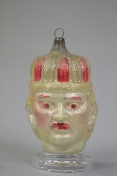 Lot # : 1394 - BLOWN GLASS INDIAN HEAD ORNAMENT
