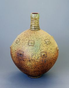 Wheel-thrown and Altered Stoneware Vase / Bottle by Hsinchuen Lin. $240.00, via Etsy.