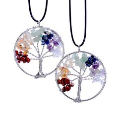 Tree of Life Necklaces 7 Chakra Stone Beads Natural Citrine Amethyst Agate Pendant Necklace Leather Chains Christmas Gifts Chakra Necklace, Chakra Jewelry, Tree Of Life Necklace, Pendant Necklace, Quartz Necklace, Gemstone Necklace, Crystal Necklace, Boho Necklace, Stone Pendants
