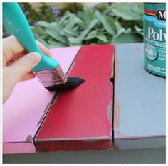 Using Vaseline to Distress a Paint over Stain Finish. Find the tutorial at Ana White, Homemaker.