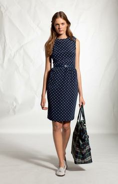Adorable polka dot dress with belt. Classy for work and for drinks afterward!