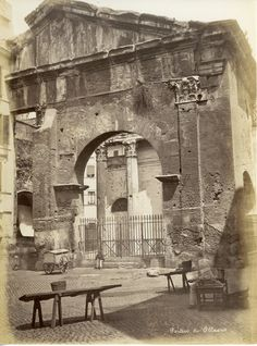 Portico d'Ottavia Circa 1875 Best Cities In Europe, Roman, Old Photos, Evergreen, Mount Rushmore, Sculptures, Angelo, Statue, History