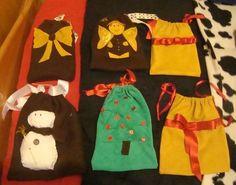 Bolsas para regalar, las hago en diferentes tamaños, colores y con diferentes dibujos.