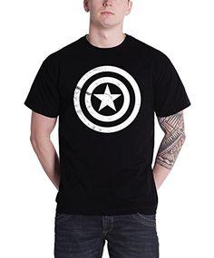 Captain America Civil War Basic Shield new Official marvel Mens Black T Shirt