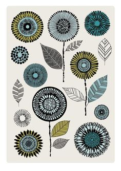 Flowerheads Blue, limited edition giclee print