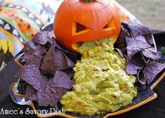 So gross, but I love it! ~Sarah Halloween Party Ideas by jeri. Pumpkin, guacamole, and chips.