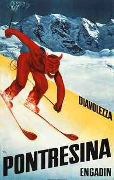 Pontresina devil ski poster