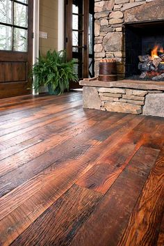 More #rustic hardwood with a beautiful fireplace to match!