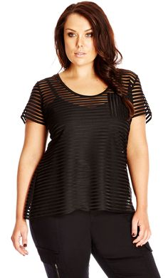 City Chic Sheer Stripe Top - Women's Plus Size Fashion City Chic - City Chic Your Leading Plus Size Fashion Destination #citychic #citychiconline #newarrivals #plussize #plusfashion