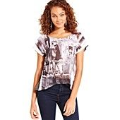 Dolled Up Juniors Top, Short Sleeve Printed High-Low