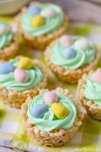 1 - 16 oz. bag Marshmallows (mini or regular size work)  7 cups Rice Krispies  2 TB butter  Easter Egg Candies  Butter cream frosting  Green food coloring  ½ C. Unsalted butter  3-4 C. Powdered sugar  ¼ C. Milk  1 tsp. Vanilla