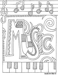 music color page- I like to print these on the back of SUB plan worksheets for the early finishers.: