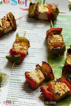 Tofu Tikka - Pan fried tofu and bell peppers marinated in spicy yogurt marinade.  -making this tomorrow night! yum!