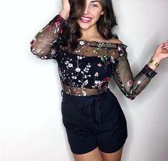 @ashdefty - Nicole Mesh Embroidered Bardot Playsuit   Rebellious Fashion