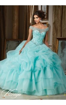 Quinceanera Dress 89110 Jeweled Beading on a Billowy Organza Ball Gown