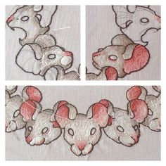 #embroidery #handmade for futur #projet #collar. #mouse and #rat #drawing by myself. #grey and #pink for #grissouris. #craft #mounshak #justwithmyfingers.