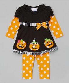 Loving this Black & Orange Pumpkin Layered Tunic & Leggings - Toddler & Girls on #zulily! #zulilyfinds