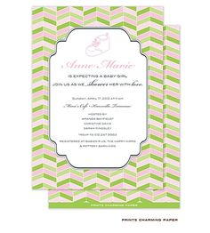 Girl Baby Shower Invitations pink and green chevron
