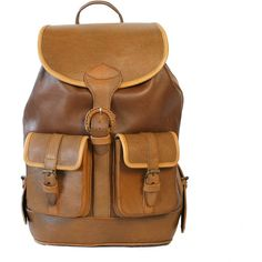 Beara Beara - Santa Cruz Classic Backpack Tan ($240) ❤ liked on Polyvore featuring bags, backpacks, accessories, purses, vintage backpack, laptop rucksack, tan leather backpack, buckle backpack and brown leather backpack