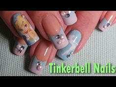 Disney Inspired; Tinkerbell Nail Art Tutorial - YouTube