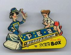 Pez Extremely RARE Vintage Tin Litho Animated Peppermint Clicker 1940 1st Ed