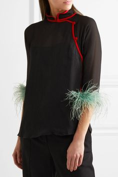 Black and red silk-chiffon, mint feathers Button fastenings through asymmetric front 100% silk; trim: 100% feather (Turkey, Ostrich) Dry clean Feathers: South Africa Made in Italy