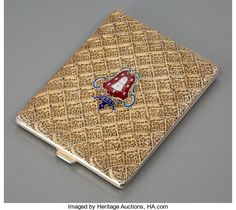 Silver Smalls:Cigarette Cases, A Filigree Silver-Gilt and Enameled Cigarette Case,
