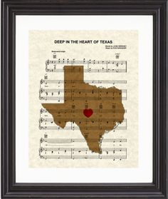 Texas, Map, Deep In The Heart of Texas, Sheet Music, Art, Print on Etsy, $15.00