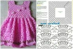 Baby Crochet Patterns Part 15 - Beautiful Crochet Patterns And Knitting Patterns - Diy Crafts Beau Crochet, Crochet Diy, Crochet Fabric, Crochet Chart, Crochet For Kids, Crochet Solo, Crochet Dress Girl, Baby Girl Crochet, Crochet Baby Clothes