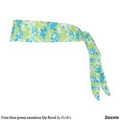Cute blue green seamless lily floral tie headband Train Like A Beast, Sweat Out, Tie Headband, All Print, Party Hats, Floral Tie, Blue Green, Art Pieces, Lily