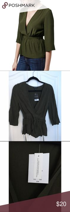 NWT Topshop Blouse 💕 This is a brand new, never been worn Topshop Blouse with the tags still on it. Originally $68. Beautiful olive color. 💕 Topshop Tops Blouses
