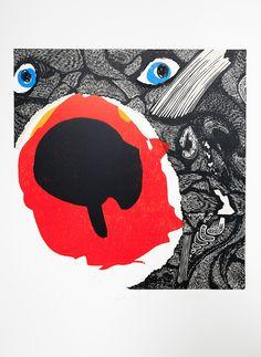Expositie Spiegelbeeld | 9 januari t/m 13 februari 2016 | Kunstwerken van diverse jonge talentvolle grafici | Kristi Neider - The red bear | Linosnede en houtdruk €320,00| www.baxkunst.nl | #baxkunst #expo #art #graphicart #contemporaryart #dutchartist #localart #gallery #Sneek #Holland
