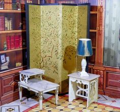 Ideal Petite Princess SCREEN, TABLES & LAMP Vintage Renwal Dollhouse Furniture #Ideal